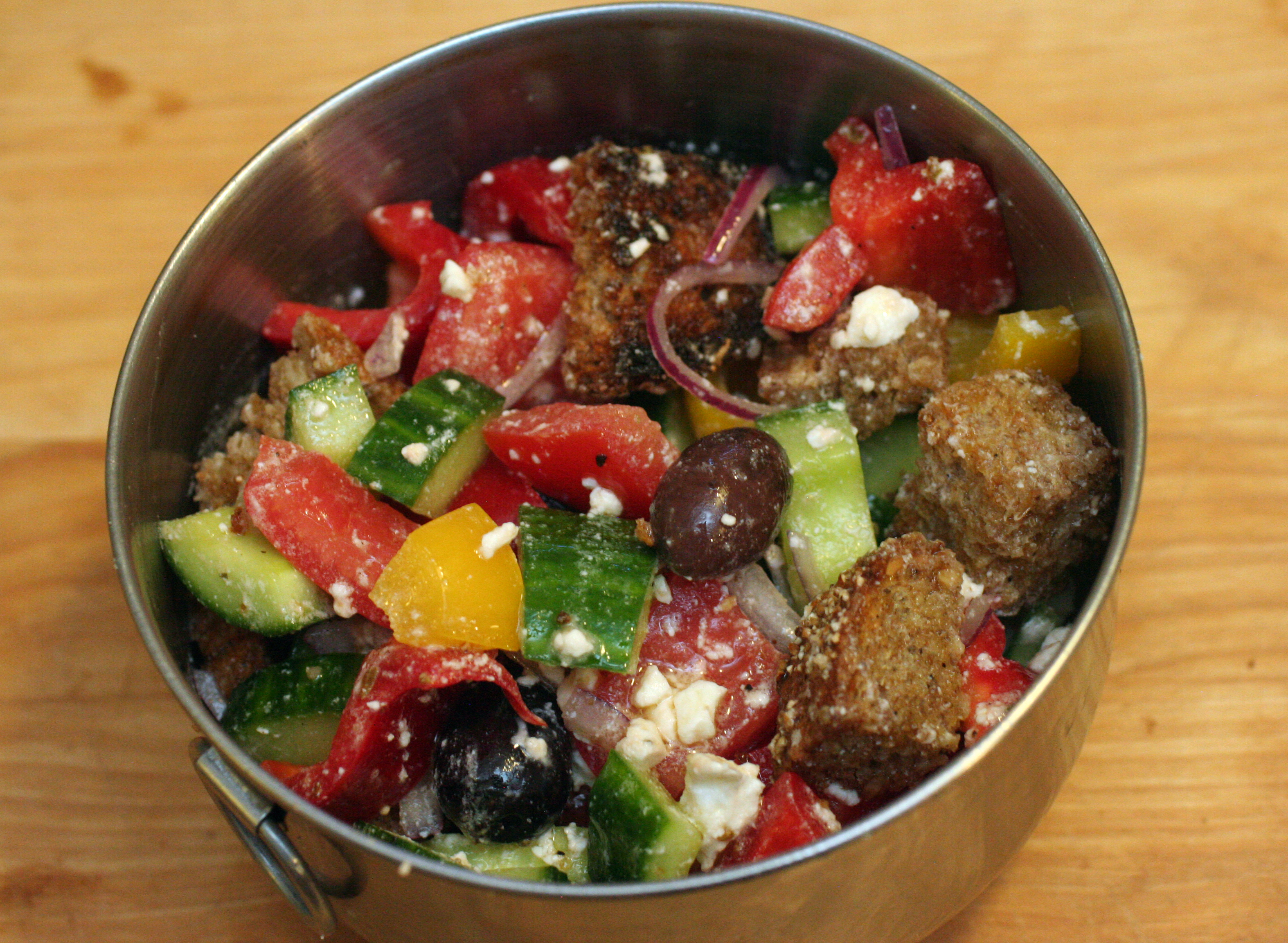Greek Panzanella greek panzanella | snacko backo